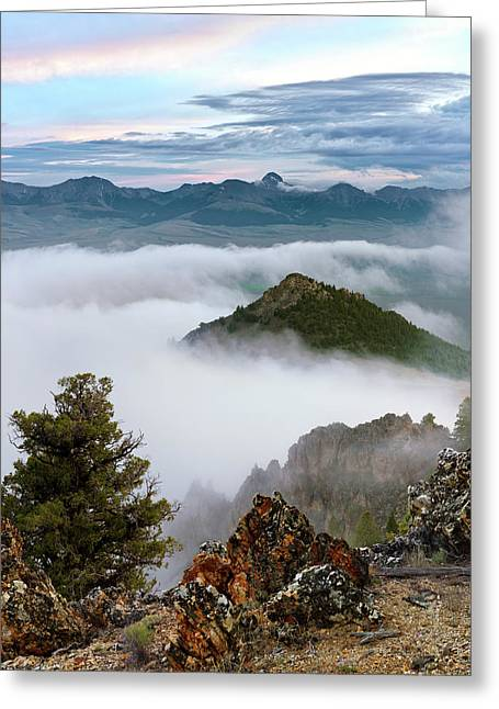 Mountain Fog Greeting Card by Leland D Howard