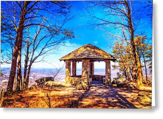 Mountain Gazebo Overlook Greeting Card by Debra and Dave Vanderlaan