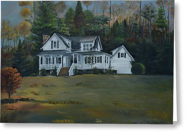 Greeting Card featuring the painting  Mountain Home At Dusk by Jan Dappen