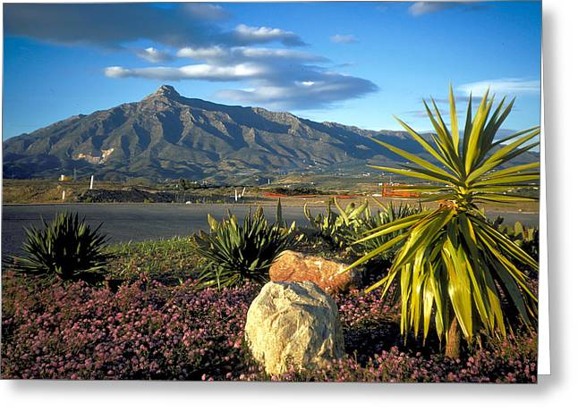 Mountain In Marbella Greeting Card by Carl Purcell