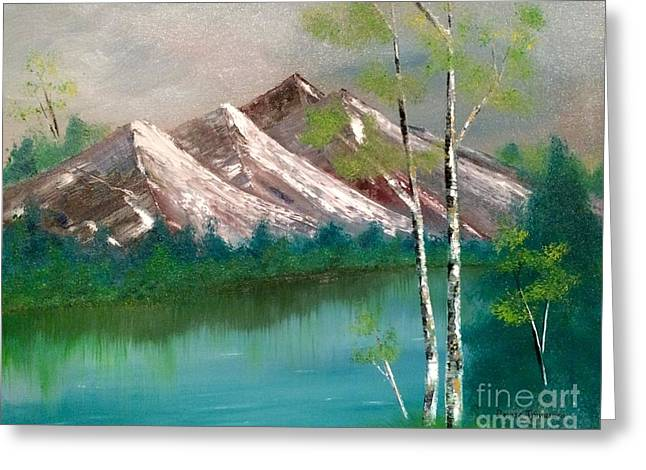Greeting Card featuring the painting Mountain Lake by Denise Tomasura