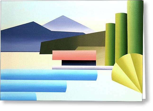 Mountain Lake Dock Abstract Acrylic Painting Greeting Card by Mark Webster