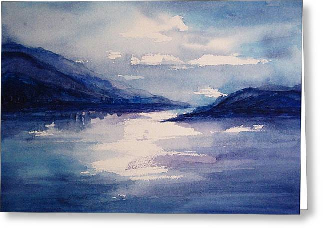 Mountain Lake In Blue Greeting Card by Suzanne Krueger