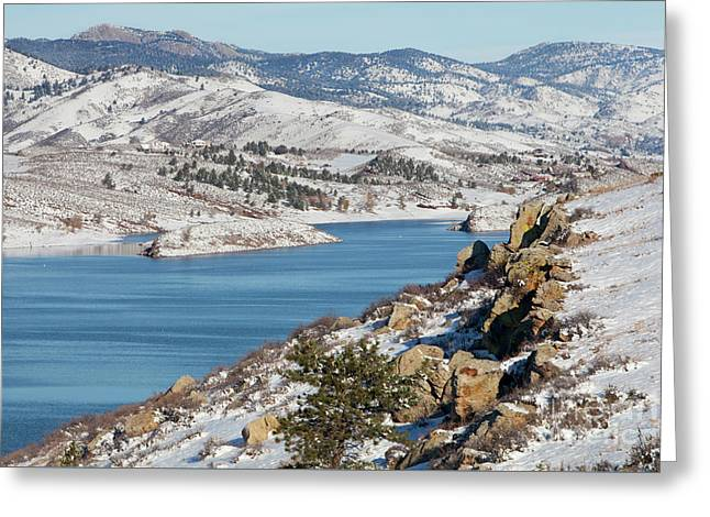 Mountain Lake In Winter Scenery Greeting Card