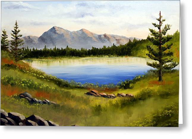 Mountain Lake Landscape Oil Painting Greeting Card