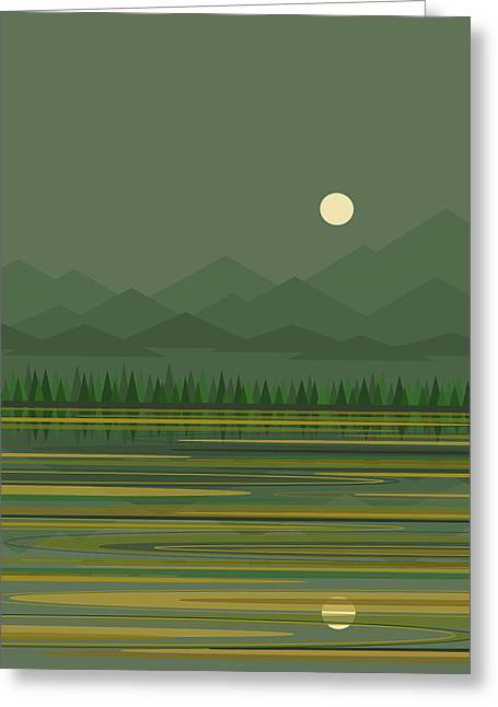 Greeting Card featuring the digital art Mountain Lake Moon by Val Arie