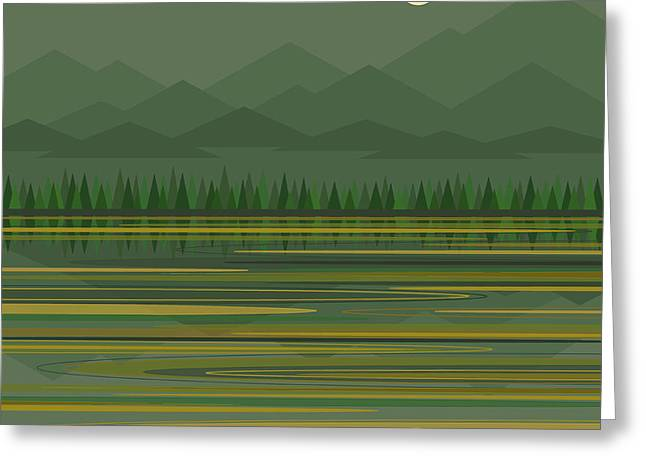 Greeting Card featuring the digital art Mountain Lake Moonrise by Val Arie