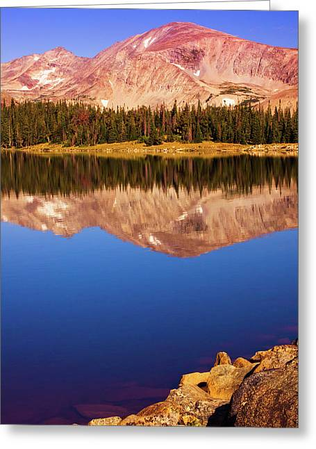 Greeting Card featuring the photograph Mountain Lake Reflections by John De Bord