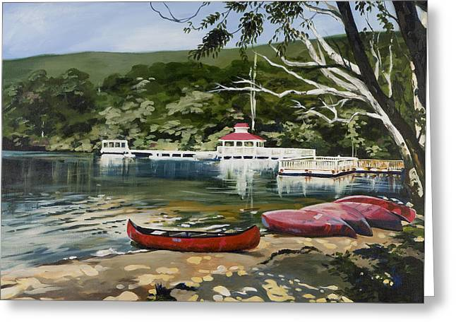 Canoe Drawings Greeting Cards - Mountain Lake Summer Greeting Card by Outre Art  Natalie Eisen