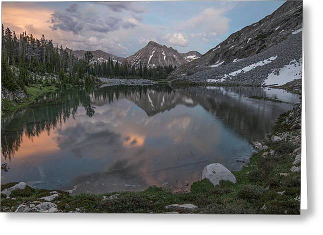Mountain Lake Sunset Greeting Card by Leland D Howard