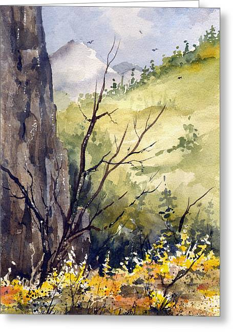 Greeting Card featuring the painting Mountain Landscape by Sam Sidders