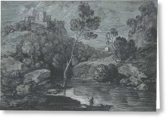 Mountain Landscape With A Castle And A Boatman Greeting Card