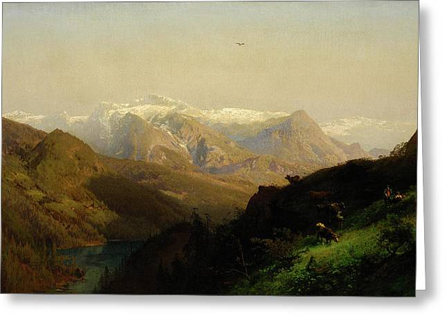 Mountain Landscape With Cattle Greeting Card by Hermann Herzog