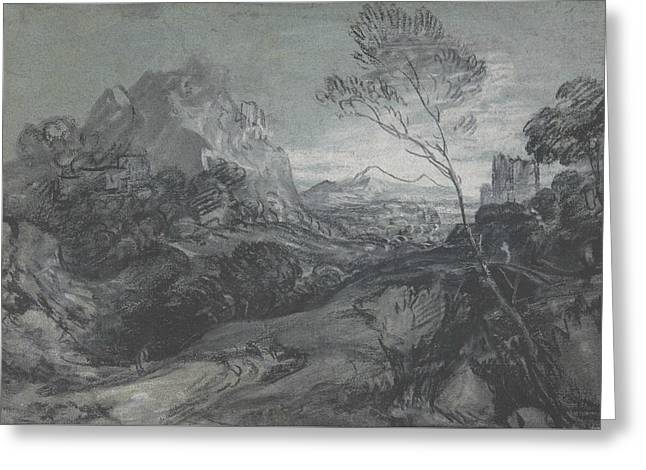 Mountain Landscape With Figures And Buildings Greeting Card