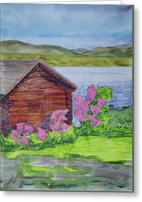Mountain Laurel By The Cabin Greeting Card by Bethany Lee