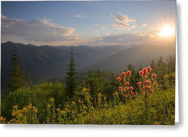 North Idaho Greeting Cards - Mountain Light Greeting Card by Idaho Scenic Images Linda Lantzy