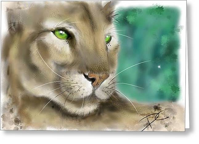 Greeting Card featuring the digital art Mountain Lion by Darren Cannell