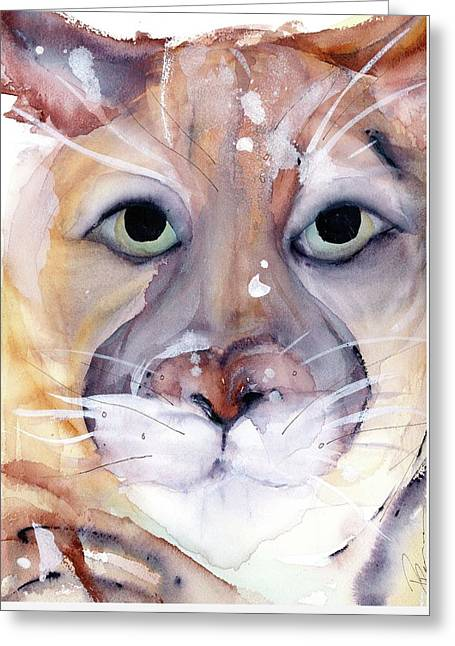 Greeting Card featuring the painting Mountain Lion by Dawn Derman