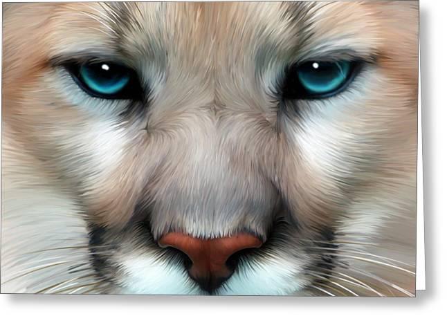 Mountain Lion Greeting Card by Julie L Hoddinott