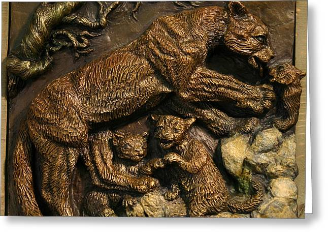 Greeting Card featuring the sculpture Mountain Lion Mother With Cubs by Dawn Senior-Trask