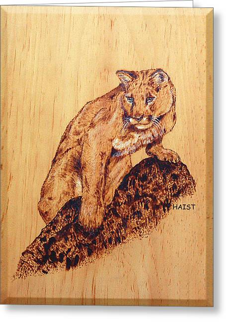Greeting Card featuring the pyrography Mountain Lion by Ron Haist