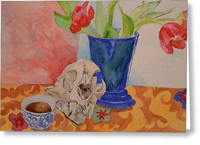 Greeting Card featuring the painting Mountain Lion Skull Tea And Tulips by Beverley Harper Tinsley