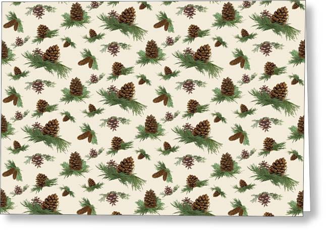 Mountain Lodge Cabin In The Forest - Home Decor Pine Cones Greeting Card