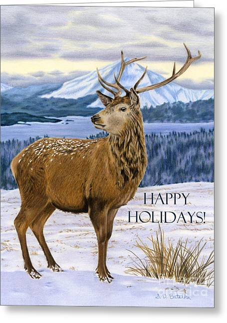 Mountain Majesty- Happy Holidays Cards Greeting Card by Sarah Batalka