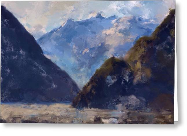 Greeting Card featuring the painting Mountain Majesty by Mark Taylor