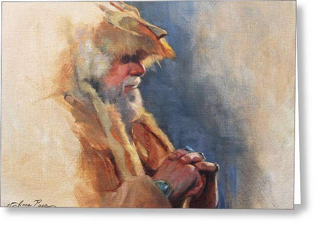 Live Art Greeting Cards - Mountain Man Greeting Card by Anna Bain