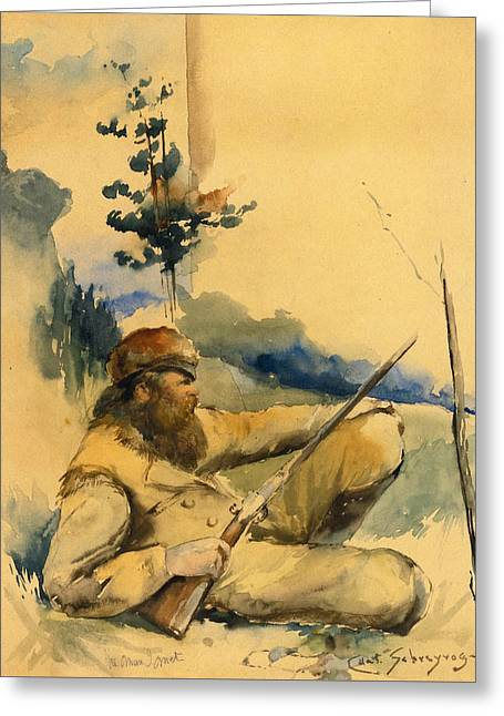 Greeting Card featuring the drawing Mountain Man by Charles Schreyvogel