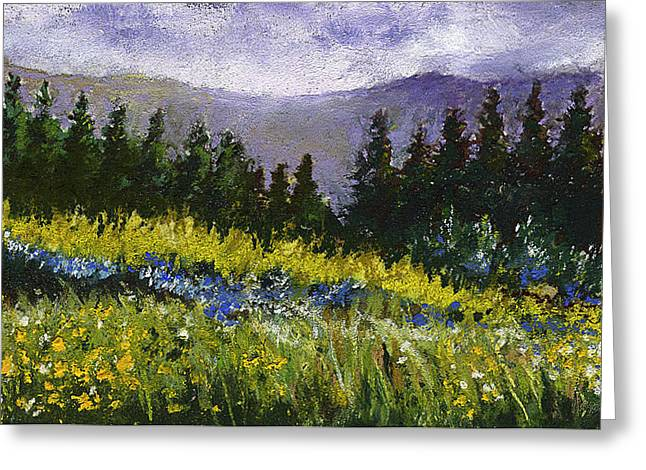Meadow Pastels Greeting Cards - Mountain Meadow Greeting Card by David Patterson