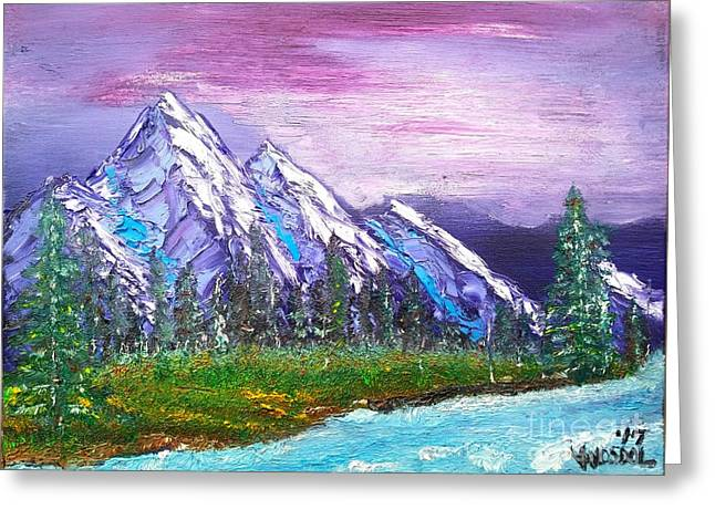 Mountain Meadow Landscape Scene Greeting Card