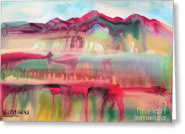 Mountain Mirage Greeting Card by Teresa Ascone