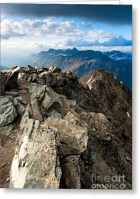 Mountain Panorama From Mont Pers Greeting Card by Peter Wey
