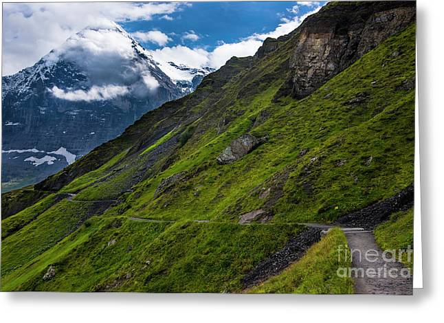 Mountain Path In The Swiss Alps Greeting Card