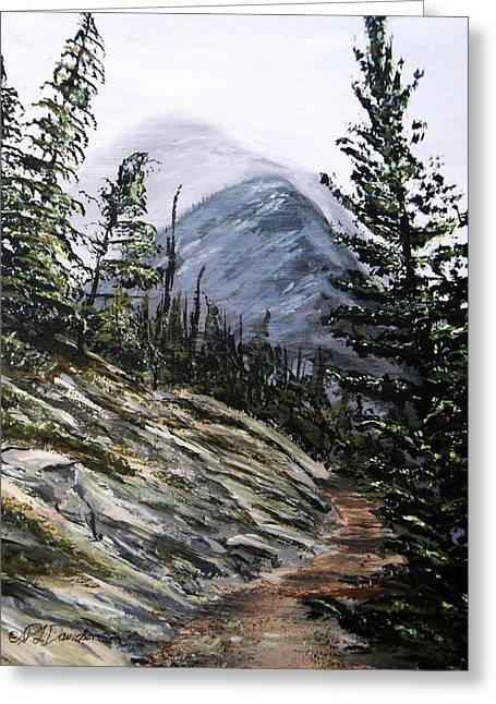 Greeting Card featuring the painting Mountain Pathway by Patricia L Davidson