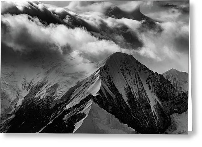 Mountain Peak In Black And White Greeting Card by Rick Berk