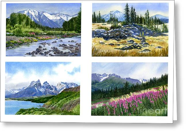 Mountain Peaks Poster Greeting Card by Sharon Freeman