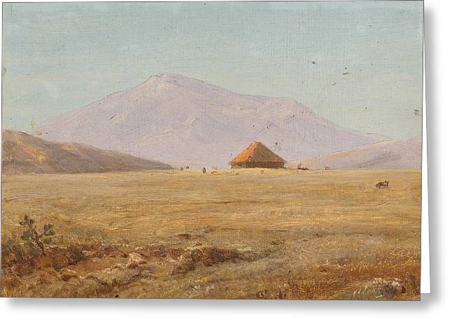 Mountain Plateau With Hut Greeting Card