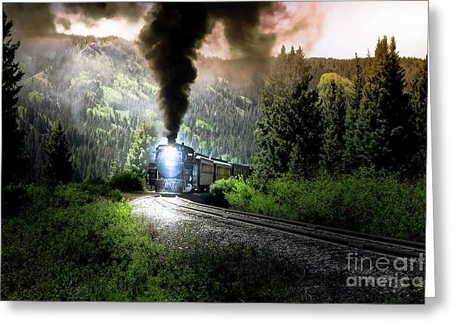 Greeting Card featuring the photograph Mountain Railway - Morning Whistle by Robert Frederick