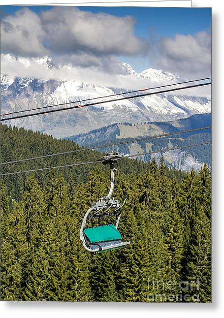 Mountain Range And Ski Lift Greeting Card