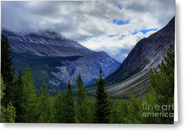 Mountain Ranges South Of Jasper Greeting Card by W