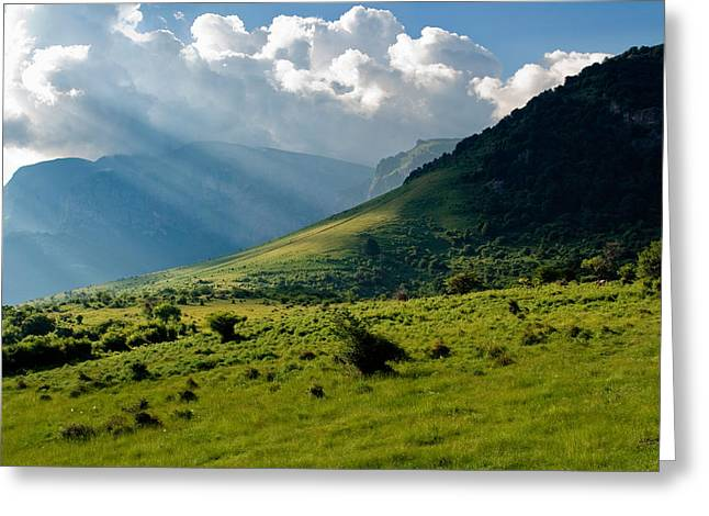 Mountain Rays Greeting Card by Evgeni Dinev