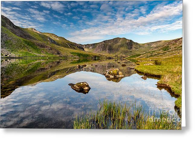 Mountain Reflection Greeting Card by Adrian Evans