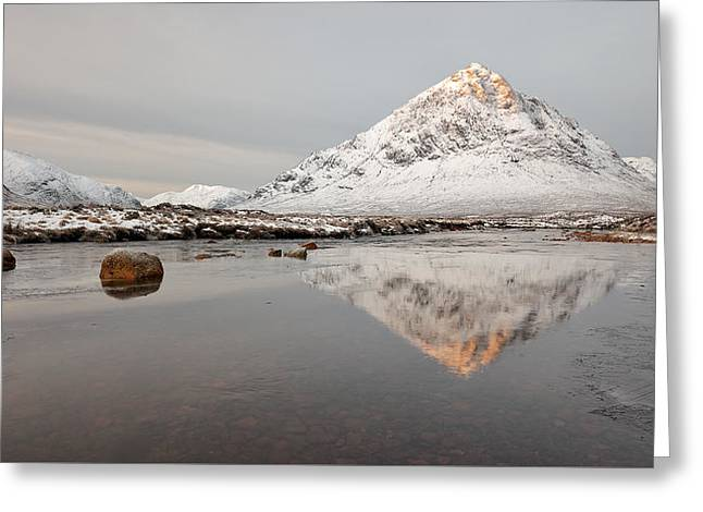 Mountain Reflection On The River Etive Greeting Card