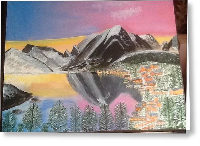 Mountain Reflections Greeting Card by Audrey Pollitt