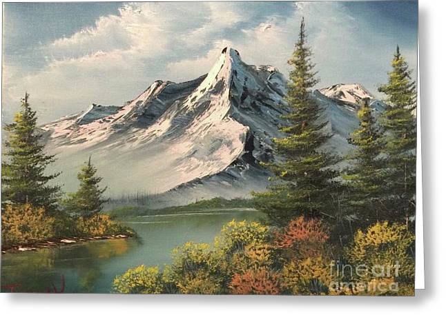 Mountain Reflections  Greeting Card by Paintings by Justin Wozniak