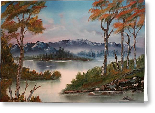 Mountain River Greeting Card by Larry Hamilton