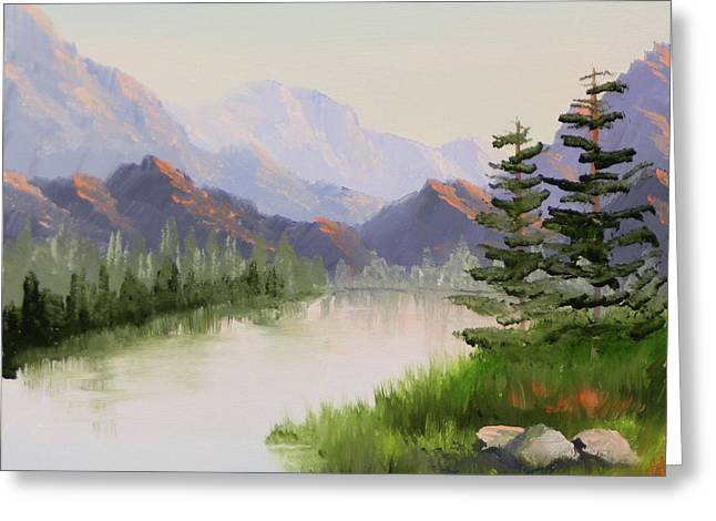 Mountain River Overture Landscape Oil Painting By Northern California Artist Mark Webster  Greeting Card